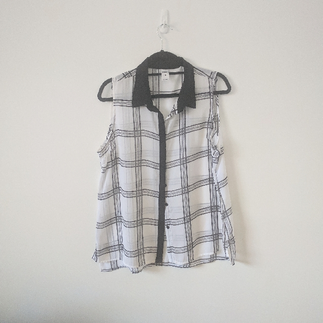 Sheer Grid Print Button Down