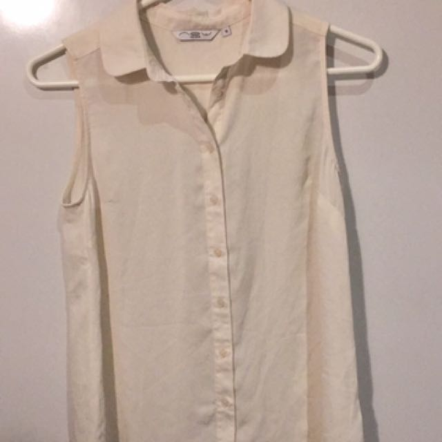 Size S White Button Up Top