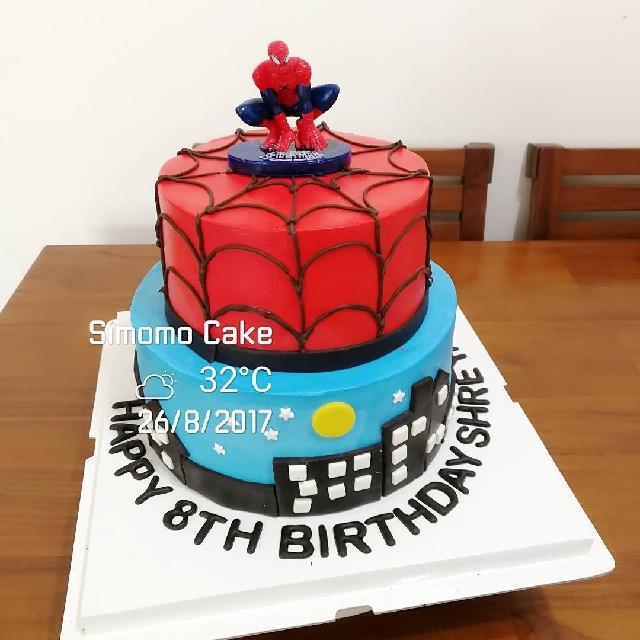 Spiderman Birthday Cake Superman Hero Customized Whipped Cream Food
