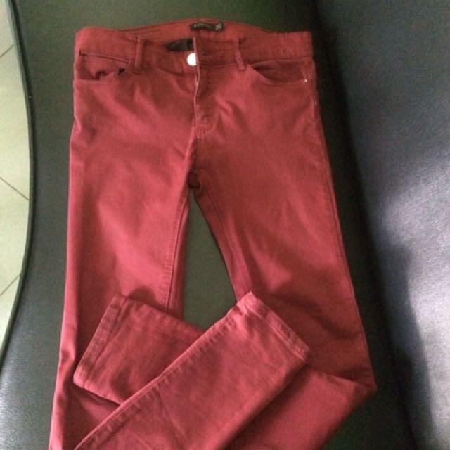 Stradivarius maroon jeans