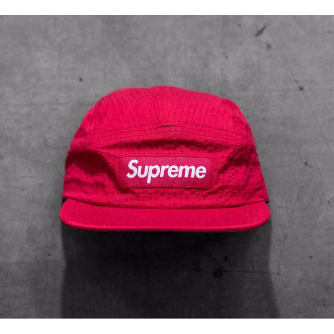 9e36a76a6d4 ... eBay  Supreme Tonal Seersucker Camp Cap Red