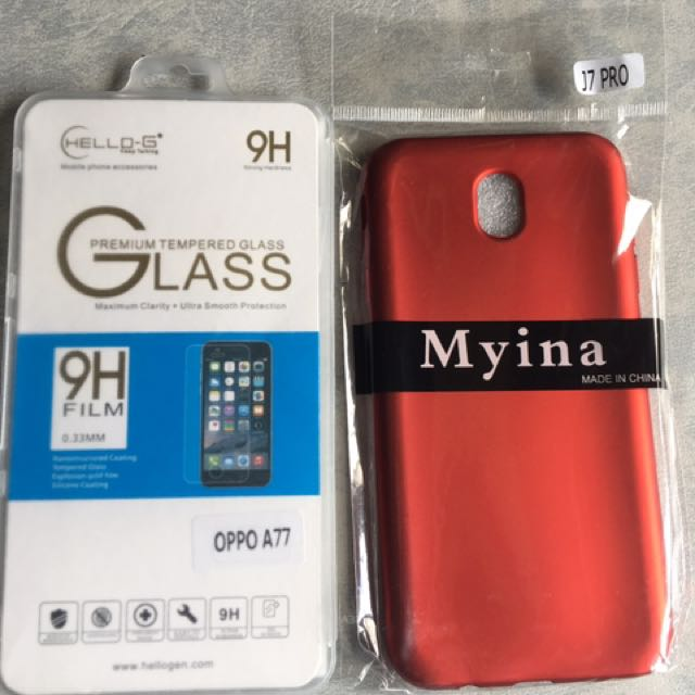tempered glass for Oppo A77 and Case for j7 pro