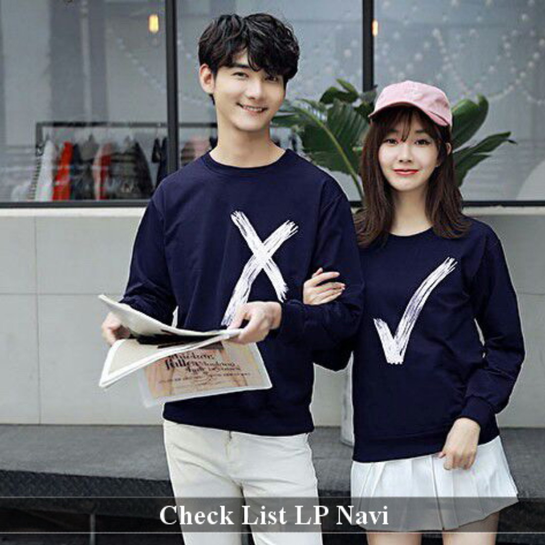 termurah lengan panjang couple serasi-Baju Couple Check List LP Navi.