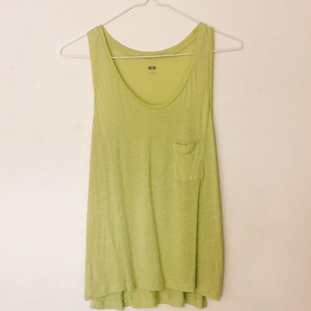 Uniqlo嫩綠口袋背心上衣