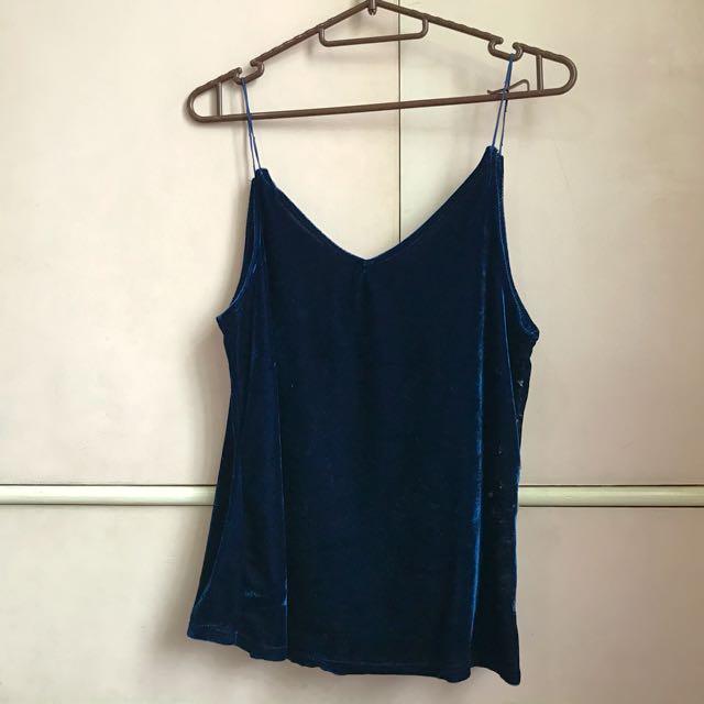 Velvet navy blue top