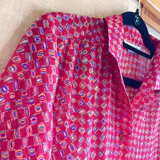 復古古著vintage.鮮豔圖騰印花立體雪紡紗壓紋上衣短袖襯衫