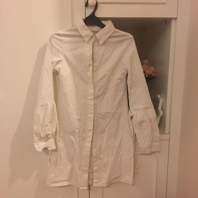 White Kemeja Shirt Dress