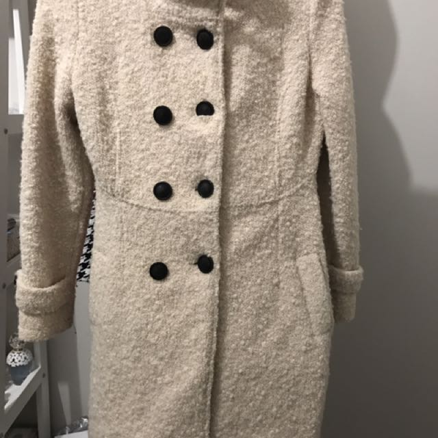 Wool Off White Winter Coat