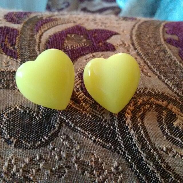 Yellow Heart-shaped Earrings