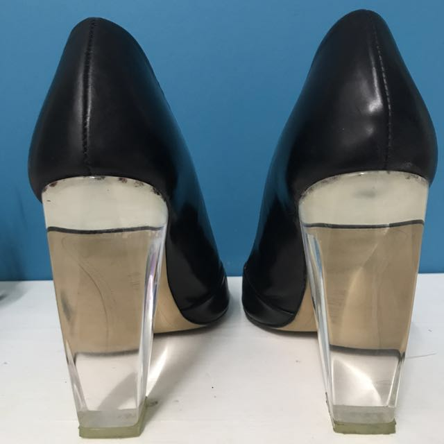 82dab843b70 ZARA black leather shoes with perspex heels in size 37