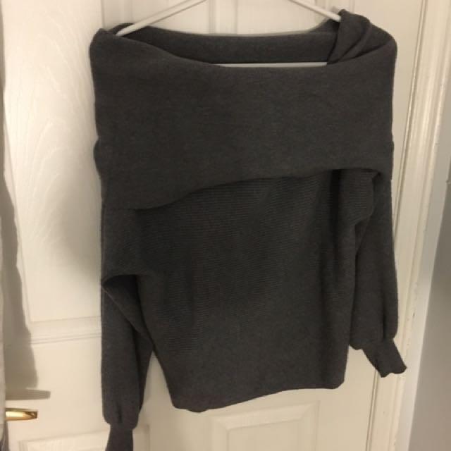 Zara off the shoulder grey sweater