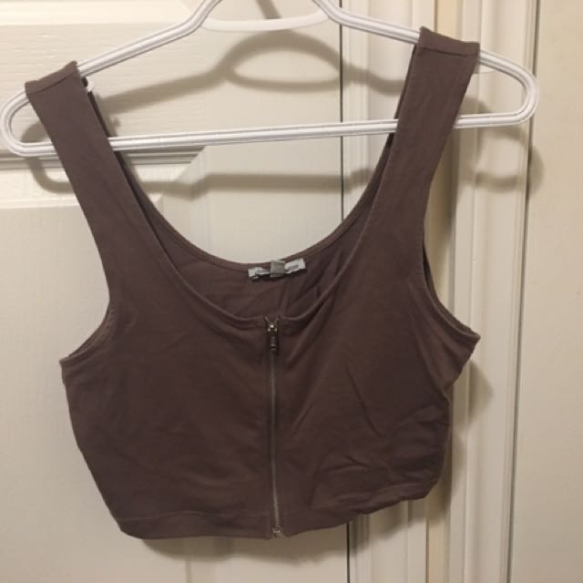 Zip Down Crop Top