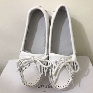 ❤LaLaNiCo❤現貨超好穿白色真皮厚底流蘇小白鞋護士鞋
