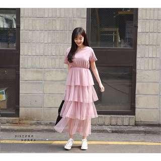 正韓粉色蛋糕洋裝