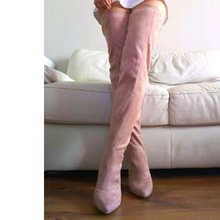 Size 38 Pink Suede Thigh High Boots
