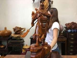 優質花梨木雕 關公 關聖帝君 威武神像 一體成型 正氣凜然 精雕 平安品 吉祥如意