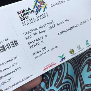 (TO SWAP) Sea Games 2017 Closing Ceremony Ticket