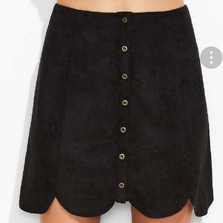 Black Suede Scallop Hem Skirt