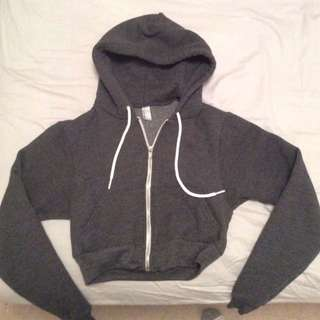 American Apparel Cropped Grey Zip Up Sweater