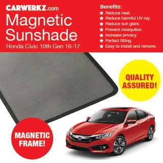 Quality Honda Civic 16-17 10th Gen FC Magnetic Sunshade 4 Pcs