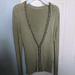 Urban Behavior Light Green Studded Sweater