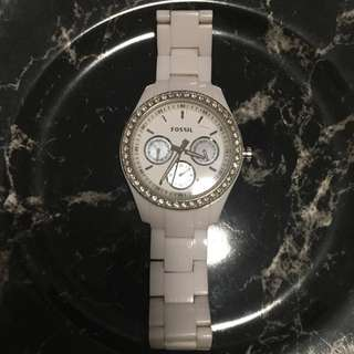 FOSSIL Authentic Watch With Crystal And Mother Of Pearl Details