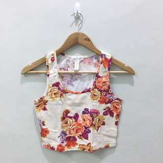 Floral Sleeveless Cropped Tops