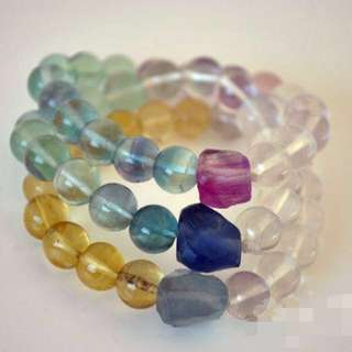 [Zen] Natural Fluorite Ombre Bead Stacking Bracelets