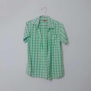 ESPRIT 綠色格子襯衫 上衣