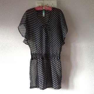 Black & White Polka Dot Chiffon Bikini Cover Up Dress From Primark