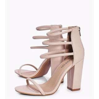 Nude 3 strap heels