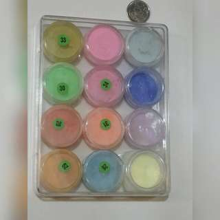 10 Over Colors Of Acrylic Powders Good Quality With Free Postage.