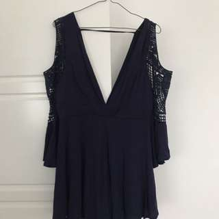 Navy Crochet playsuit