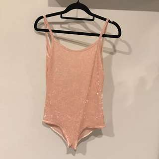 Pink Crushed Velvet Bodysuit
