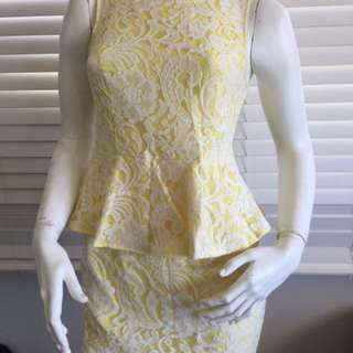 Knight Angel Lemon Lace Contrast Pepelum Dress Size 12