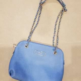 DKNY Blue Bryant Park Saffiano Small Chain Shoulder Bag