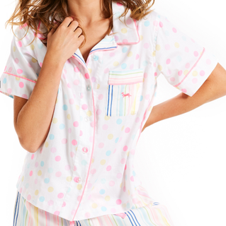 Peter Alexander Rainbow Spot S/Sleeve Shirt RRP $69.95
