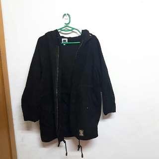 韓 厚磅jads黑色長版抽繩外套 #交換最划算