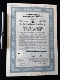 1943 - German Loan bond certificate - 5000 Reichsmark