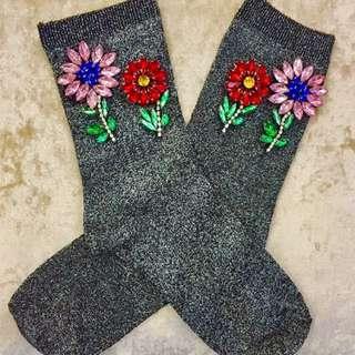 水鑽花朵銀蔥襪