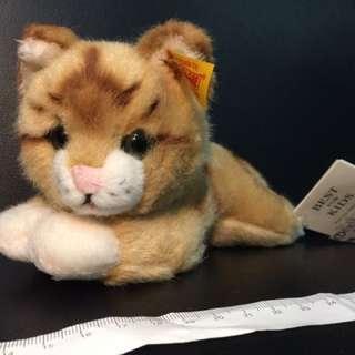 全新 steiff 德國 金耳釦 小貓 趴姿 沒在用出清