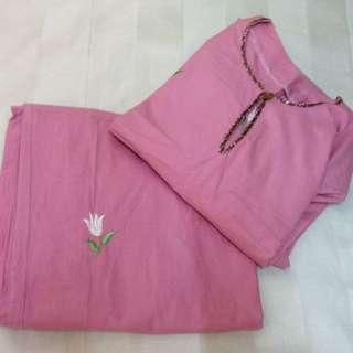 Baju Kurung England Cotton in Magenta