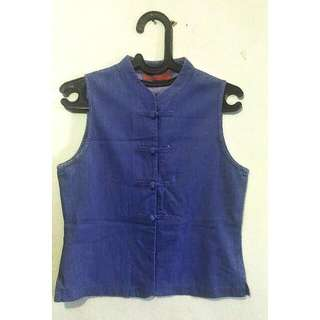Vest Jeans Kancing Sanghai