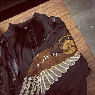 Wing embroidery bomber jacket