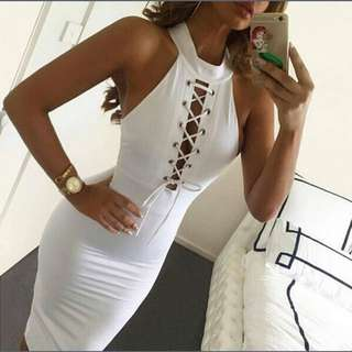 High neck lace detail bodycon dress