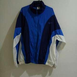 Nike made in Taiwan 東京嘻哈古著店Crooklyn帶回 正版 正老品 復古 古著 藍白風衣外套 教練外套 薄款 刺繡logo 立領 高領 拉鍊外套 XL
