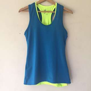 Blue and Neon Green Activewear Tops