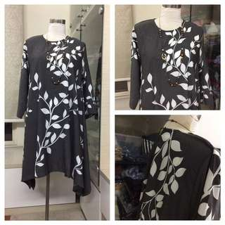 🔆 Leaves Plus Size Blouse - Dark Grey Fits To 3XL