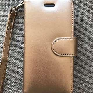 iPhone 7 Cover Case (Gold) Real Leather
