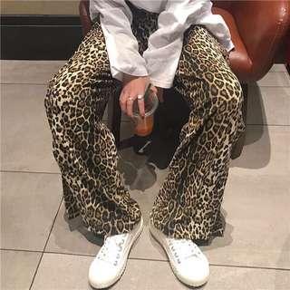 訂製款豹紋寬褲